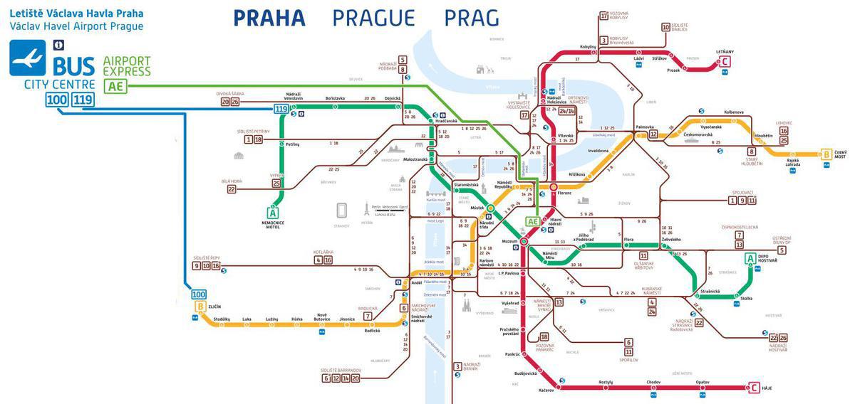 из аэропорта в центр Праги