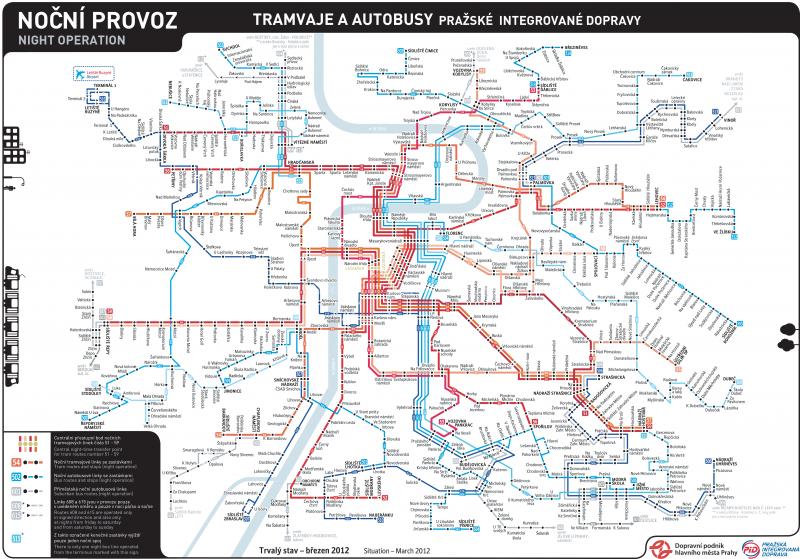 Карты (схемы) трамвайных маршрутов Праги.