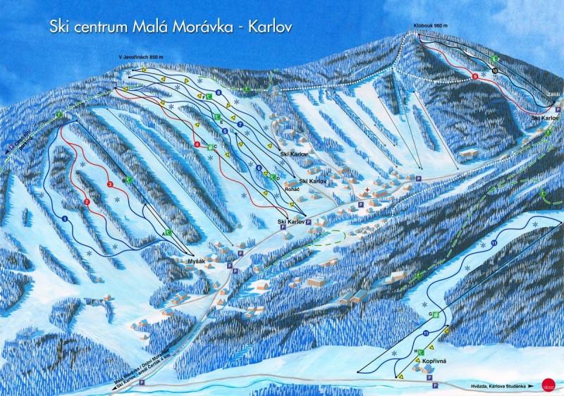 Карлов – Мала Моравка - карта трасс