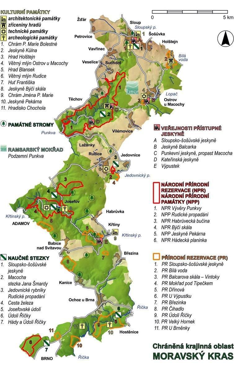 Моравский карст - карта