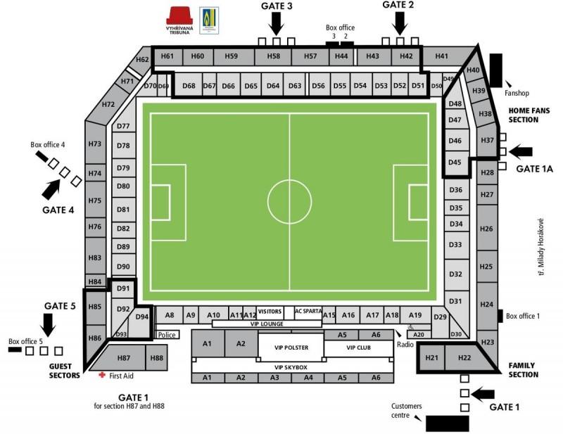 Выходы и вместимость стадиона