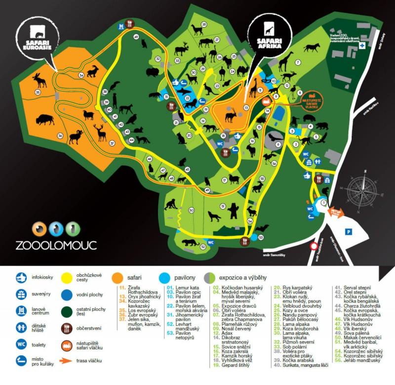 Зоопарк Оломоуц карта